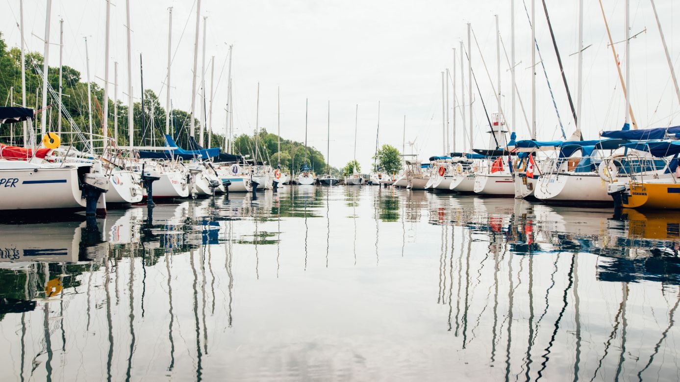 sailboats in the harbour at Barrie Yacht Club